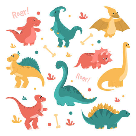 Cute and funny dinosaurs set vector isolated. Collection of smiling baby dragons. Triceratops and brachiosaurus.