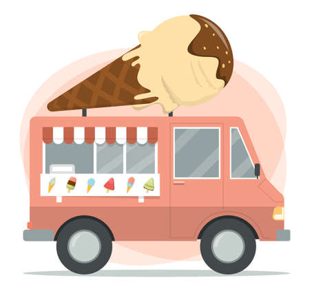 Ice cream truck vector isolated. Vehicle with tasty snack, sweet dessert. Street cafe, transport with cold dessert on top.