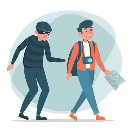 Thief stealing money from tourist vector isolated. Dnagerous criminal in black mask. Robber steals wallet full of money. Man with map and camera does not suspect anything.