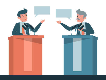 Political debate vector isolated. Two candidates on discussion, presidential election in USA. Men at the microphone on tribune. Vector Illustration