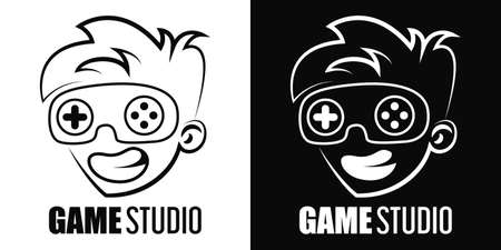 Game studio icon isolated. Gaming controller as a part of the face.