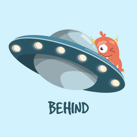 Learning preposition behind isolated. Childish drawing with alien and UFO spaceship. English words learning with cute character.