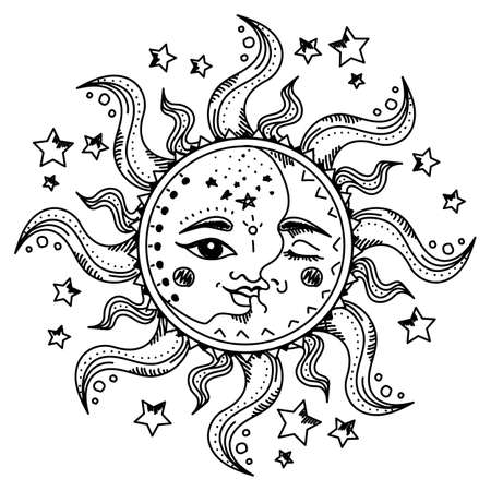 Sun and moon with faces among the stars isolated. Mystic alchemy and astrology symbol. Spiritual esoteric drawing. Hand drawn solar sign with rays. Black line art style.  イラスト・ベクター素材