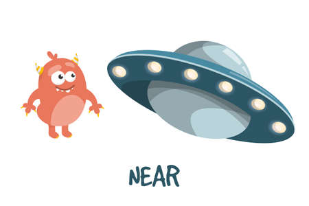 Learning preposition near vector isolated. Chilidish drawing with alien and UFO spaceship. English words learning with cute character.