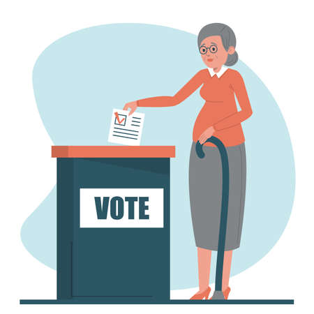 Senior woman voting for a president vector isolated. Female character standing at the vote box and holding voting ballot.
