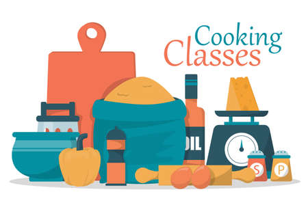 Cooking classes web banner vector isolated. Cooking food using kitchen utensils. Advertising of culinary class.