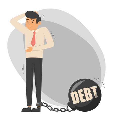 Sad worried man chained to the metal weight vector isolated. Financial debt, idea of bankruptcy and crisis. Ilustrace