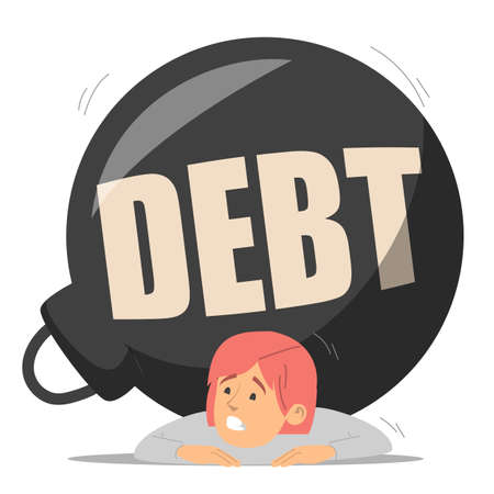 Businesswoman squashed by a huge metal weight vector isolated. Debt, idea of financial crisis and bankruptcy. Woman in despair. Çizim