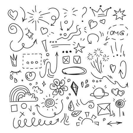 Hand drawn doodle vector isolated. Funny black outlined signs. Collection of sketches, decorative elements.