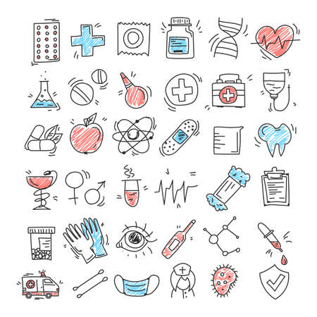 Set of medical icons in doodle style vector isolated. Pill, first aid kit, thermometer and plaster. Idea of health care and medical treatment.
