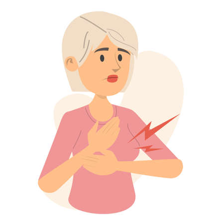 Woman feels pain in breast vector isolated. PMS syndrome, medical condition. Young person touching breast. Ilustrace