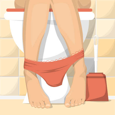 Woman sitting on toilet vector illustration. Female legs and red pretty panties. Female character peeing, toilet interior.