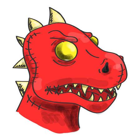 Head of a red zombie dinosaur vector isolated. Colorful and funny print for clothing. Cartoon monster, spooky character. Horror halloween decoration.