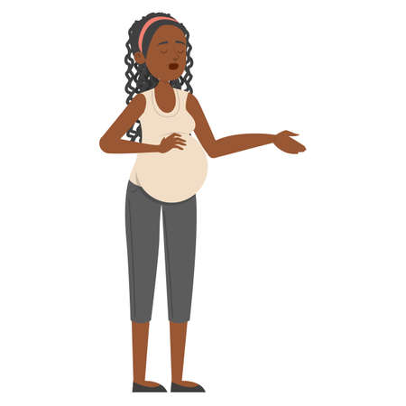 Pregnant woman standing and touching belly  isolated. Young mother expecting baby. Happy female african american character holding belly. Ilustrace