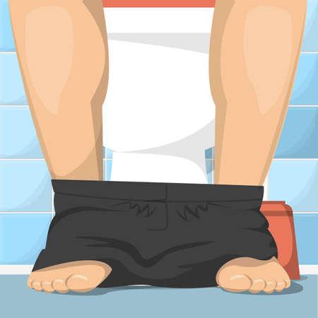 Man sitting on toilet  illustration. Male legs and black panties. Male character, toilet interior. Ilustrace