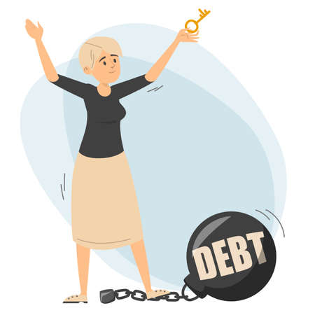 Happy woman holding key and dancing. Metal weight vector isolated. Free from the financial debt, idea of economy growth and success.