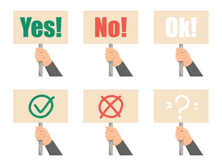 Set of hands holding placards. Yes, no and ok signs. Demonstration and protest concept. Activist with banner. Ilustrace