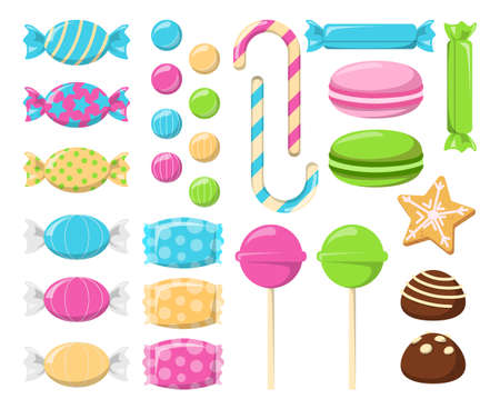 Collection of sweets and candies vector isolated. Set of colorful desserts. Delicious lollipopand macaron. Strawberry, fruit and apple taste. Ilustrace