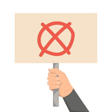 Hand holding placard with cross mark vector isolated. Negative sign, refuse concept. Message on the board.