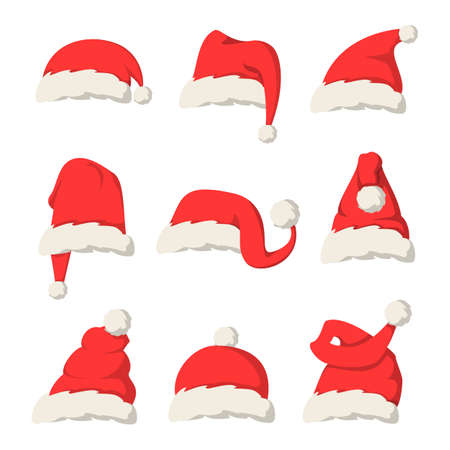 Collection of red Santa Claus hats vector isolated. Christmas decoration element, cap as a part of traditional costume. Red and white fur.