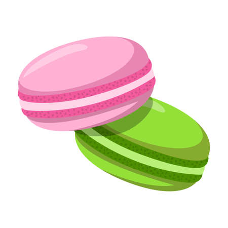 Delicious macaron desserts vector isolated. Tasty bakery, Cookie with cream, pink and green cakes.