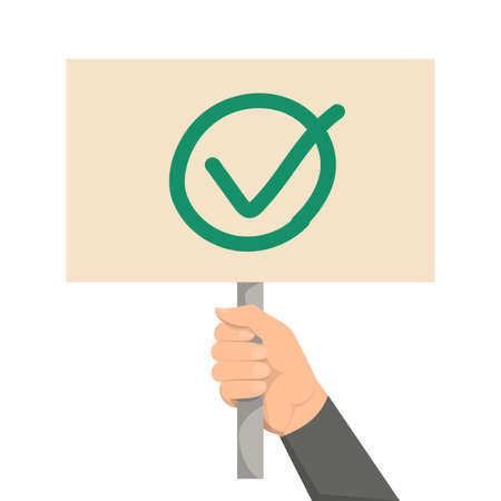 Hand holding placard with green check mark on it vector isolated. Make your choice concept. Positive answer, message on the board.