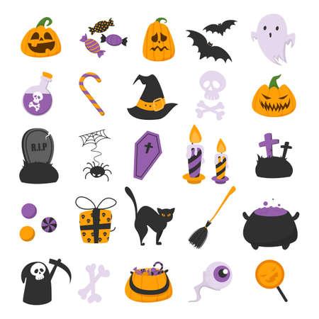 Funny halloween set vector isolated. Illustration of orange, violet and black symbols of october holiday halloween. Skull, ghost, pumpkin and bat. Ilustrace