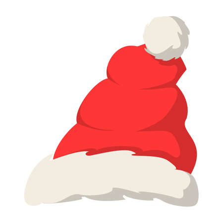 Red Santa Claus hat vector isolated. Christmas decoration element, cap as a part of traditional costume. Red and white fur. Ilustrace