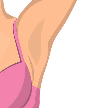 Hairless female armpit after depilation vector isolated. Idea of beauty and body care. Illustration of part of a female body.