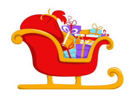 Red christmas sleigh full of holiday presents vector isolated. Illustration of the sledge with colorful boxes and red Santa Claus gift bag. Idea of winter holiday celebration.