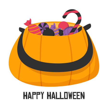 Pumpkin full of candies vector isolated. Illustration of the banner for Halloween holiday. Orange october symbol of spooky holiday. Lollipop, candy. Trick or treat. Ilustrace