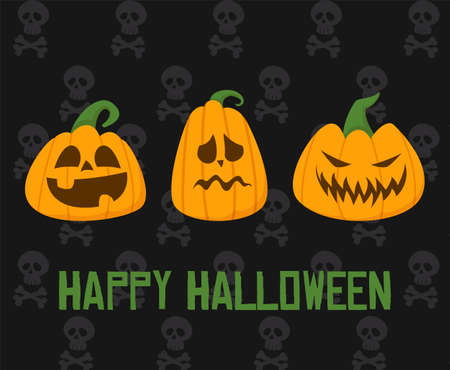 Happy Halloween vector web banner. Spooky pumpkins with different face emotions, decoration for the autumn holiday. Skull pattern on the background. Horror holiday celebration.