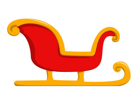 Red christmas sleigh vector isolated. Winter season, decoration for merry christmas. Celebration of a winter holiday. Red and golden colored transport.