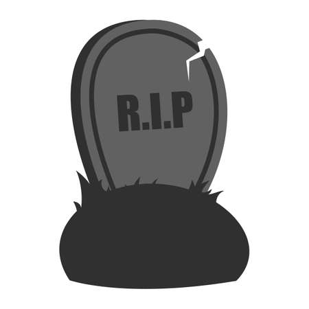 Halloween grave isolated. October holiday, element for the greeting card. Dark and creepy object, spooky tomb. Rest in Peace.