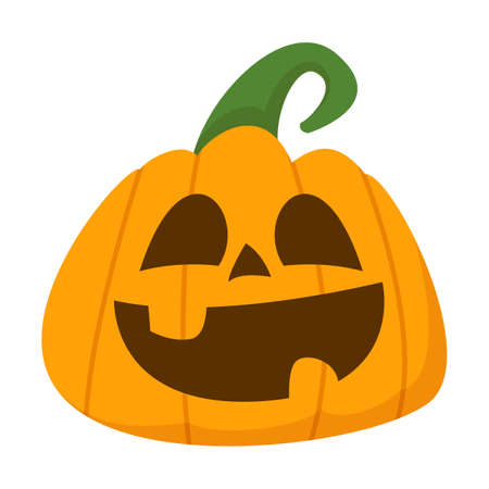 Happy halloween pumpkin vector isolated. Funny holiday element, smile carved on the pumpkin. Orange vegetable.