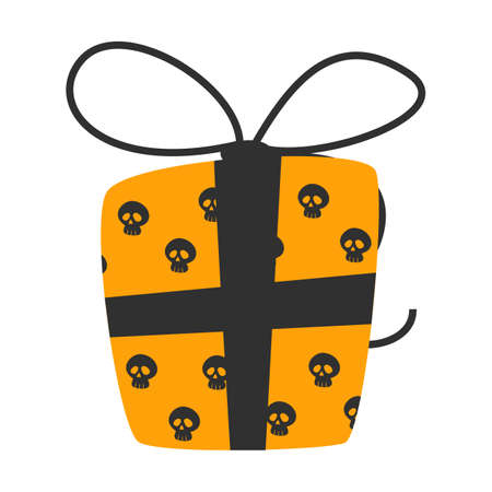 Hallowen gift box vector isolated. Happy halloween, present for october holiday. Orange wrap with skull pattern. Black bow. Spooky holiday celebration, decoration element. Ilustrace
