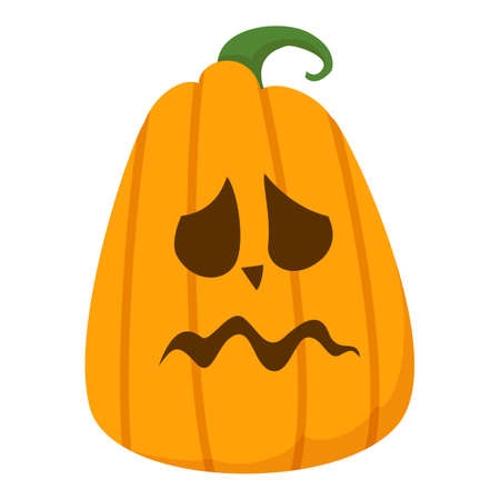 Sad halloween pumpkin vector isolated. Funny holiday element, face carved on the pumpkin. Orange vegetable.
