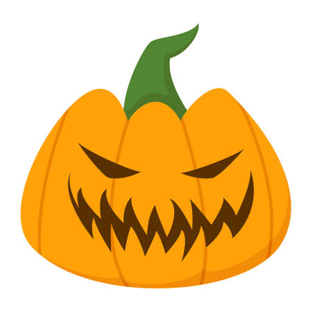 Happy halloween pumpkin vector isolated. Funny holiday element, smile carved on the pumpkin. Orange vegetable with scary grin. Ilustrace