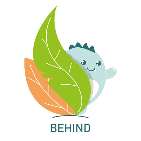 Cute dinosaur behind the leaves, learning preposition vector isolated. Preschool education, study position of the object. Funny dino standing behind plants. Иллюстрация