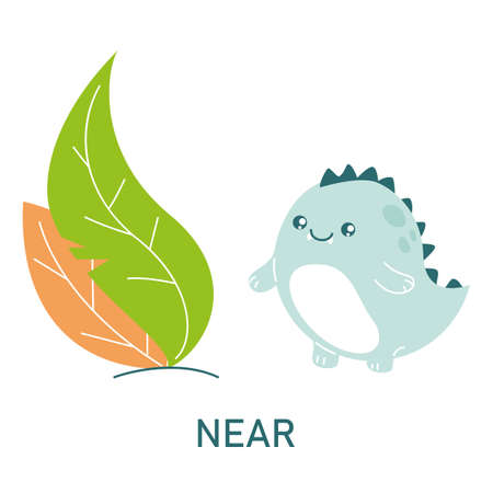 Cute dinosaur near the leaves, learning preposition vector isolated. Preschool education, study position of the object. Funny dino standing near plants.