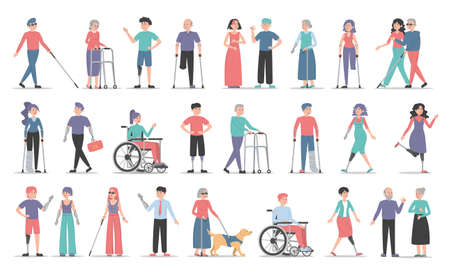 Disabled people set. Collection of characters with disability. Deaf, blind and handicapped women and men. Adults with prosthetic arms and legs. Guy in a wheelchair, injured girl with crutches.