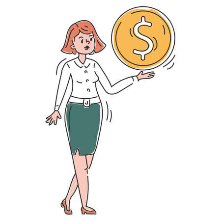 Businesswoman with a big golden coin vector isolated. Doodle illustration of a female character holding a giant dollar coin. Idea of investment and business profit. Money savings. Иллюстрация