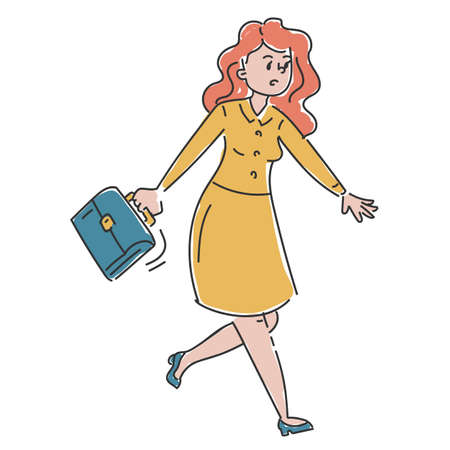 Businesswoman in a hurry vector isolated. Doodle illustration of female character in yellow dress running to the office. Girl in stress.