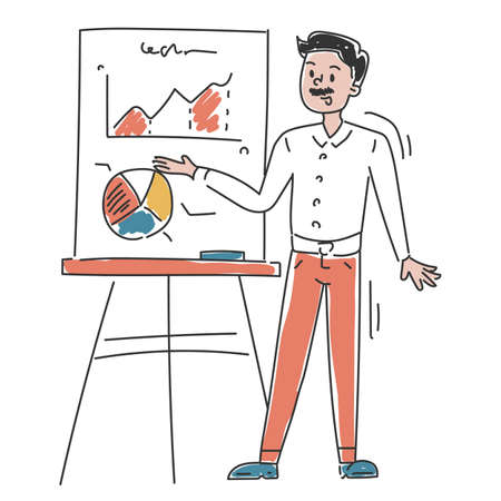 Business person showing presentation vector isolated. Doodle illustration of businessman presenting sales chart. Office worker on seminar. Иллюстрация