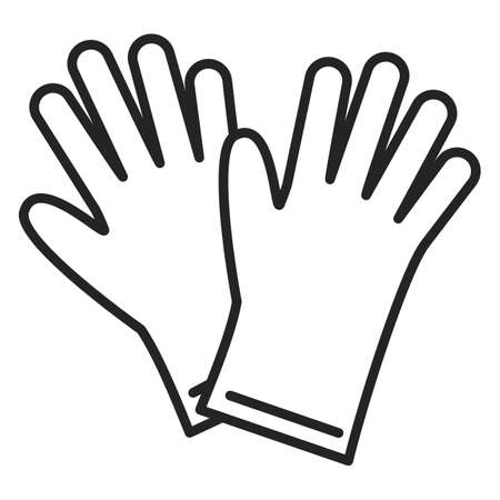 Rubber gloves icon vector isolated. Outlined symbol of washing tool. Protective clothing, safety for hands. Two gloves. Иллюстрация