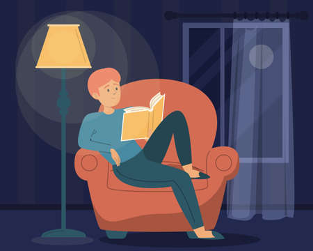 Man reading book in the dark. Male character sitting in the armchair under the lamp and holding book. Night time, home leisure.