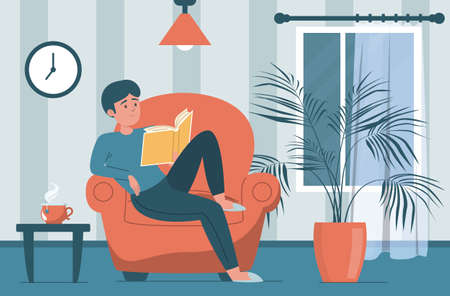 Man reading book. Male character sitting in the armchair and holding book. Person at home, domestic relaxation. Living room interior.