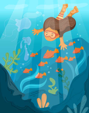 Cute child swimming underwater. Vector illustration of girl snorkeling with mask. Fish and coral in the sea. Tropical lifestyles, kid having fun.