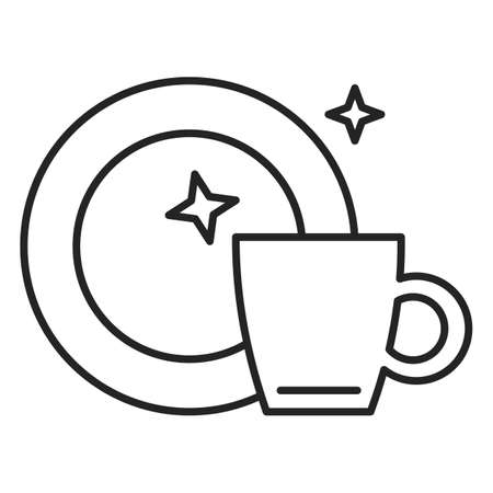 Clean dishes icon. Vector symbol of tableware after washing. Kitchen tools, outlined signs of dish and cup.