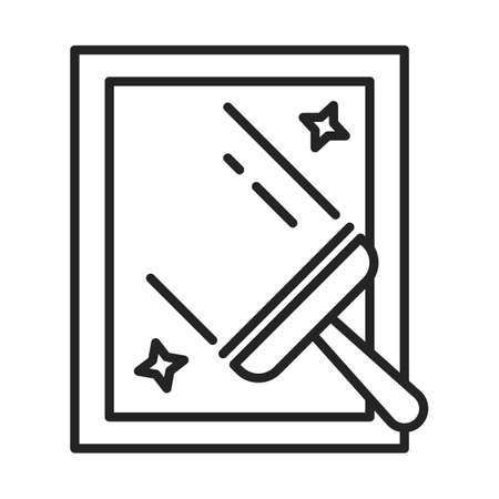 Window cleaning line icon. Outlined symbol of a glass window washer, squeegee sign. Domestic work concept.